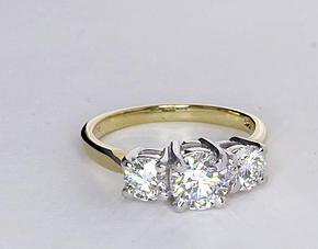 Classic Three-Stone Diamond Engagement Ring in 18k Yellow Gold