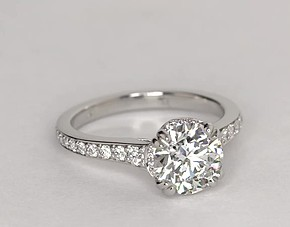 Graduated Double Prong Pavé Diamond Engagement Ring in Platinum (1/4 ct. tw.)
