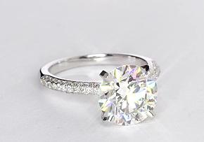 Trio Micropavé Diamond Engagement Ring in 14K White Gold (1/3 ct. tw.)