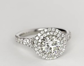 Duet Halo Diamond Engagement Ring in 18k White Gold
