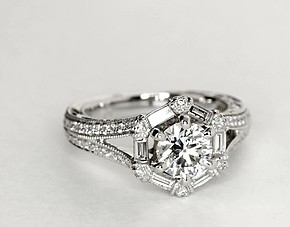 Monique Lhuillier Hexagon Baguette Diamond Engagement Ring in Platinum (1/2 ct. tw.)