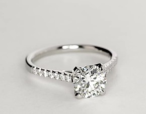Petite Cathedral Pavé Diamond Engagement Ring in Platinum