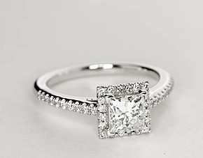 Princess Cut Halo Diamond Engagement Ring in 18K White Gold