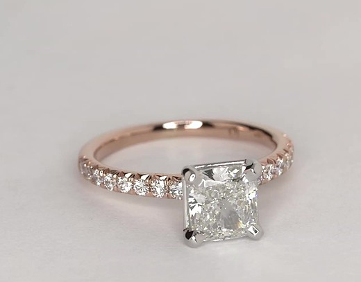 French Pavé Diamond Engagement Ring in 14k Rose Gold (1/4 ct. tw.)