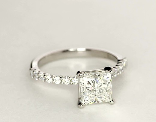 Petite Luna Diamond Engagement Ring in Platinum (1/3 ct. tw.)