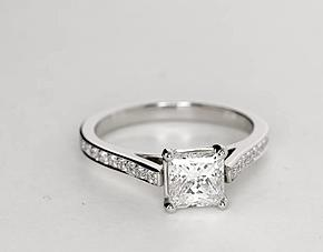 Cathedral Pavé Diamond Engagement Ring in Platinum (1/5 ct. tw.)