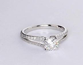 Split Shank Diamond Engagement Ring in 14k White Gold