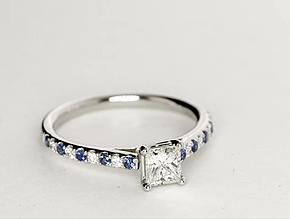 Riviera Micropavé Sapphire and Diamond Engagement Ring in Platinum
