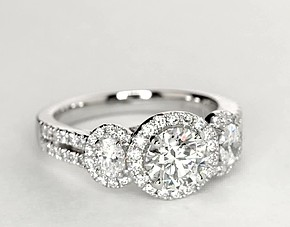 Image result for Monique Lhuillier Three-Stone Halo Pavé Diamond Engagement Ring