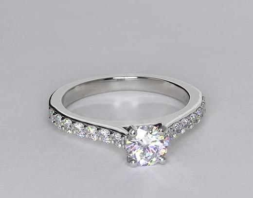 Cathedral Pave Diamond Engagement Ring In Platinum