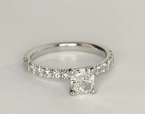 Scalloped Pavé Diamond Engagement Ring in Platinum (2/5 ct. tw.)