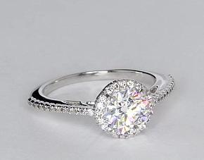 Halo Diamond Engagement Ring in 14k White Gold (1/5 ct. tw.)