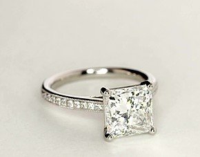 Heirloom Petite Cathedral Pavé Diamond Engagement Ring in Platinum (1/10 ct. tw.)