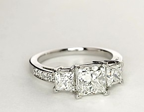 Three Stone Pavé Diamond Engagement Ring in Platinum