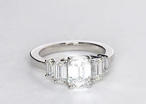 Four Stone Emerald Diamond Engagement Ring in Platinum