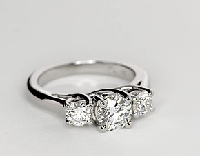 Three-Stone Trellis Diamond Engagement Ring in Platinum