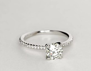 Petite Micropavé Diamond Engagement Ring in 14k White Gold (1/10 ct. tw.)