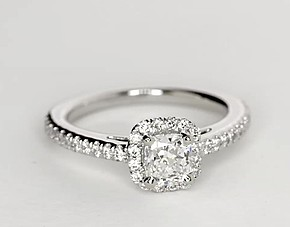 Carat Cushion C... 1 Carat Cushion Cut Halo Engagement Ring