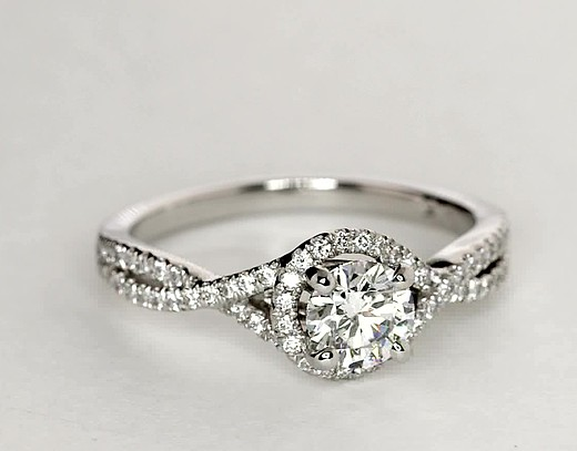 Twisted Halo Diamond Engagement Ring in Platinum (1/3 ct tw.)