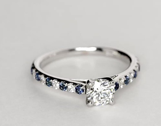Riviera Micropavé Sapphire and Diamond Engagement Ring in 14k White Gold