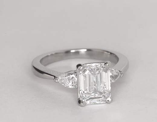 Classic Pear Shaped Diamond Engagement Ring in Platinum for Larger Diamonds (1/2 ct. tw.)