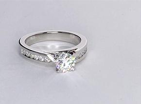 Channel Set Diamond Engagement Ring in Platinum