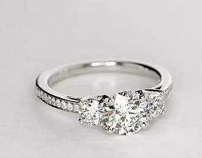Three Stone Pavé Diamond Engagement Ring in 14k White Gold (2/3 ct. tw.)