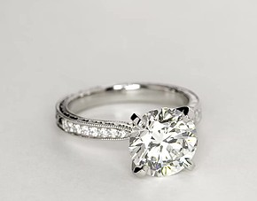 Hand Engraved Micropavé Diamond Engagement Ring in Platinum (1/6 ct. tw.)