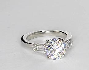 Tapered Bullet Diamond Engagement Ring in Platinum