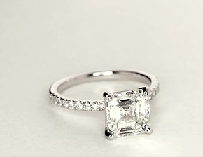 Petite Pavé Diamond Engagement Ring in Platinum