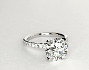 French Pave Diamond Engagement Ring in Platinum (1/4 ct. tw.)