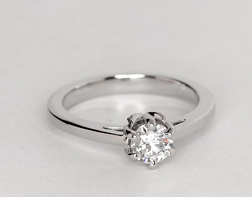 Leaf Solitaire Engagement Ring in Platinum