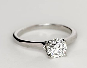 Surprise Diamond Solitaire Engagement Ring in 14k White Gold
