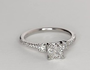 Petite Micropavé Trio Diamond Engagement Ring in Platinum (1/4 ct. tw.)