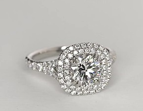 Duet Halo Diamond Engagement Ring in 18k White Gold (1/2 ct. tw.)