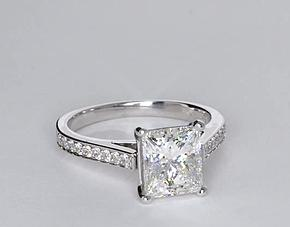 Cathedral Pavé Diamond Engagement Ring in 18k White Gold (1/5 ct. tw.)