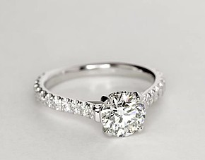 Petite Pavé Crown Diamond Engagement Ring in 14k White Gold (2/5 ct. tw.)