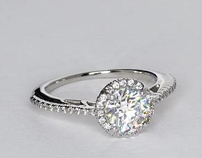 Halo Diamond Engagement Ring in Platinum (1/5 ct. tw.)