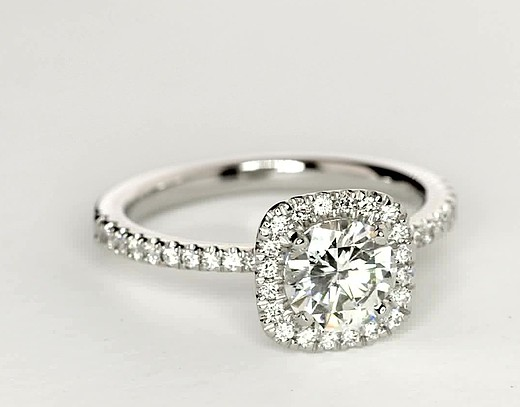 Arietta Halo Diamond Engagement Ring in Platinum (1/5 ct. tw.)