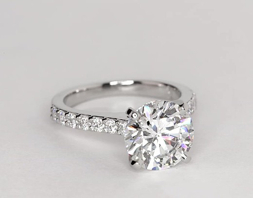 Cathedral Pavé Diamond Engagement Ring in Platinum (1/2 ct. tw.)