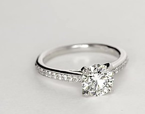 Heirloom Petite Cathedral Pavé Diamond Engagement Ring in 14k White Gold (1/10 ct. tw.)