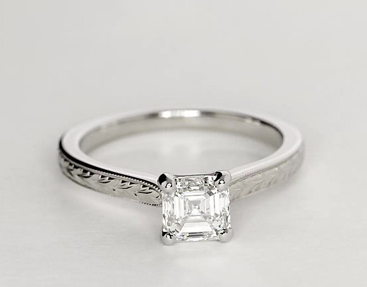 Hand Engraved Solitaire Engagement Ring in 14k White Gold