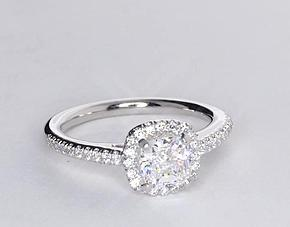 Cushion-Cut Halo Diamond Engagement Ring in 18k White Gold (1/4 ct. tw.)