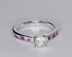 Channel Set Pink Sapphire & Diamond Engagement Ring in 14K White Gold