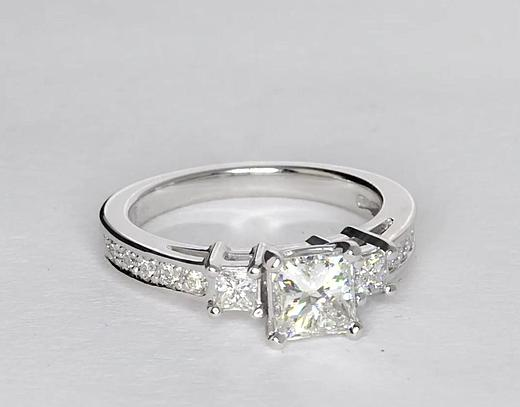 Trio Princess Cut Pavé Diamond Engagement Ring in 14k White Gold (13 ...