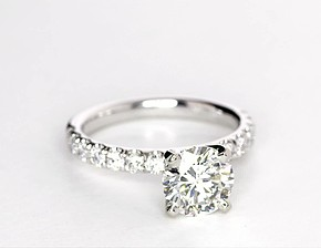 Scalloped Pavé Diamond Engagement Ring in 18k White Gold