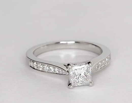 Cathedral Pavé Diamond Engagement Ring in Platinum (1/4 ct. tw.)