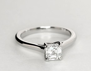 Petite Trellis Solitaire Engagement Ring in Platinum