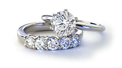 Platinum Six-Prong Engagement Ring and Matching Band