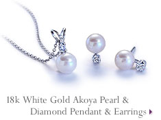 18k White Gold Akoya Pearl & Diamond Pendant & Earrings
